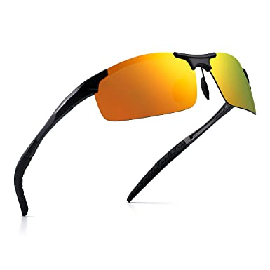 620d6f3bc93 Sports Polarized Al-Mg sunglasses Metal Spring Hinge Fishing Cycling  Glasses Men (Black