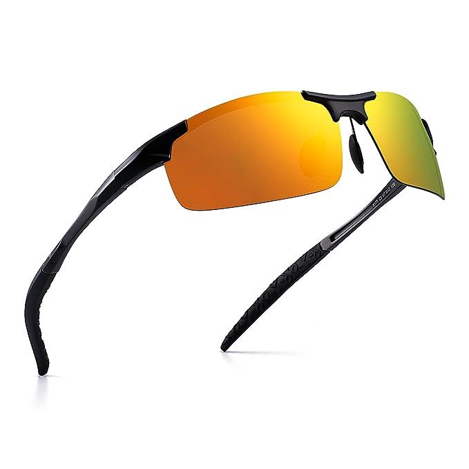 Deportes Polarizadas Al-Mg Gafas de Sol de Metal Con Bisagras de Resorte Pescar Ciclismo