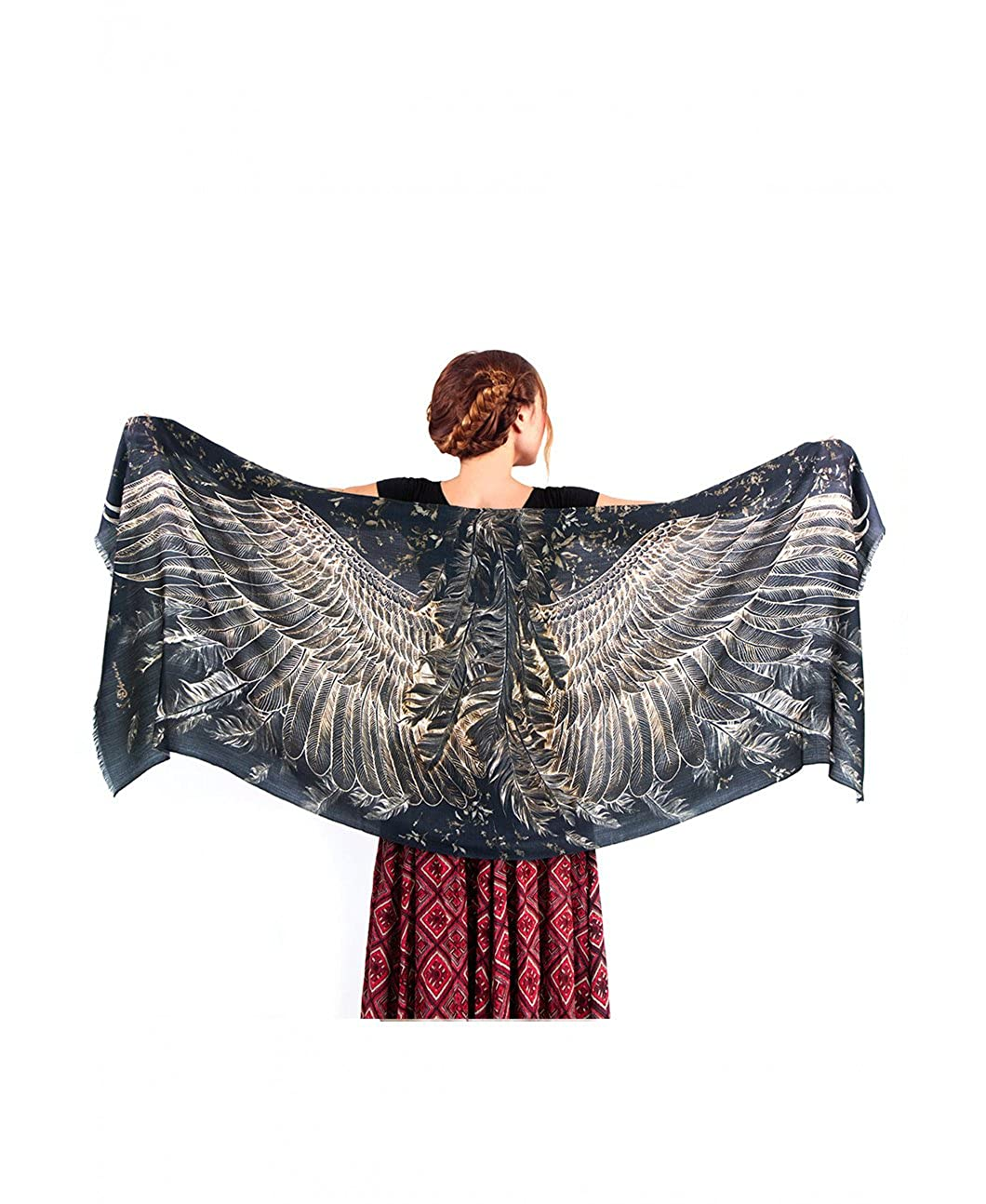 9495956639534 Delicately hand-painted and digitally printed Art of Black Wide-Spread Bird  Wings Just put it over your shoulders to look   feel divine.