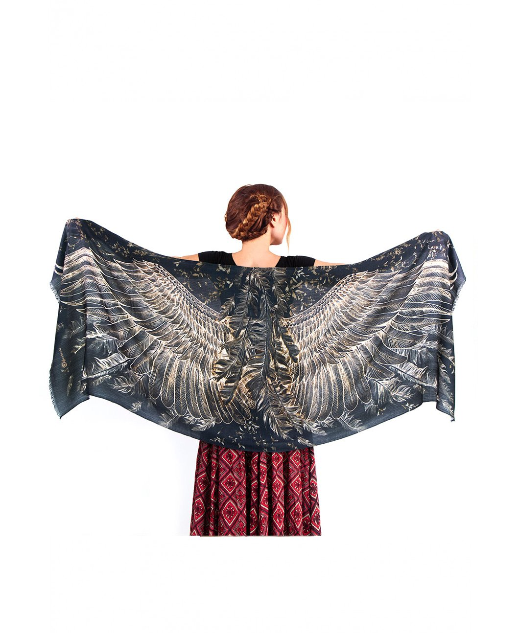 Black Evening Bird feathers Hand Painted & Printed Pure Cotton Shawl Scarf