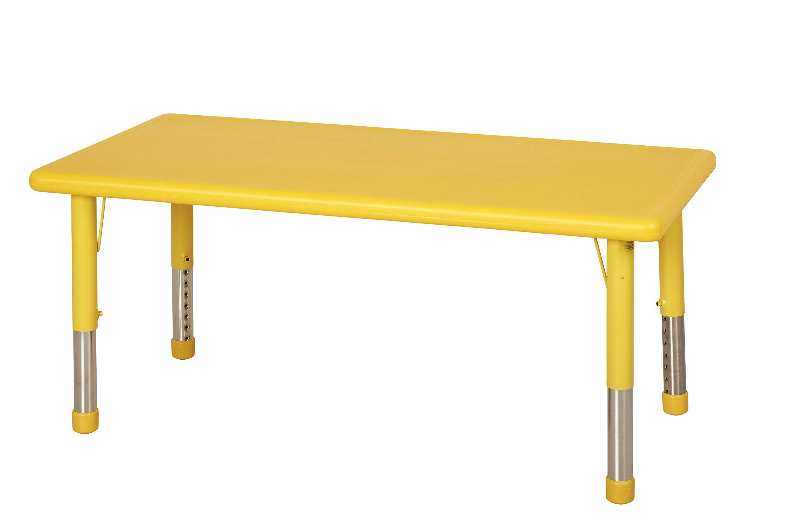 ECR4Kids 24 x 48'' Rectangular Resin Adjustable Activity Table, Yellow