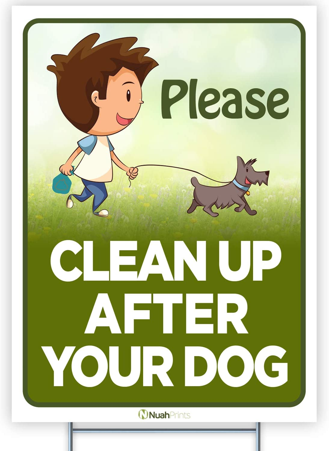 Nuah Prints Please Clean Up After Your Dog Sign (9 x 12 Inches) | Colorful, Doubled-Sided Pick Up After Your Dog Sign | Unique Illustration Lawn Garden Signs for Your Home | Printed in The USA (1)