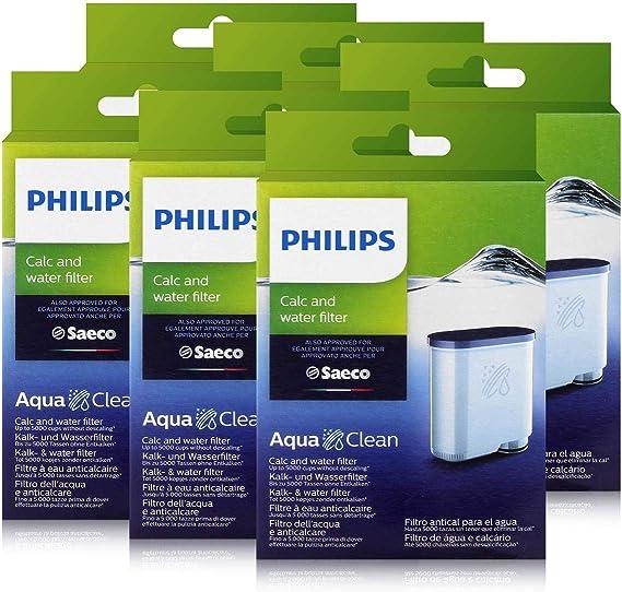 Philips CA6903/10 AquaClean - Filtro de agua para cafeteras automáticas Saeco Philips (6 unidades): Amazon.es: Hogar