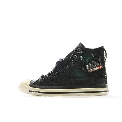Diesel Femmes Exposure Noir Sneakers, Black, 37