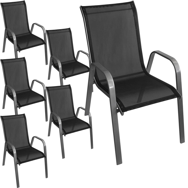 6 Stück Stapelstuhl Gartenstuhl Stapelsessel Gartensessel stapelbar Stahlgestell pulverbeschichtet mit Textilenbespannung Gartenmöbel Balkonmöbel Terrassenmöbel Silber / Schwarz