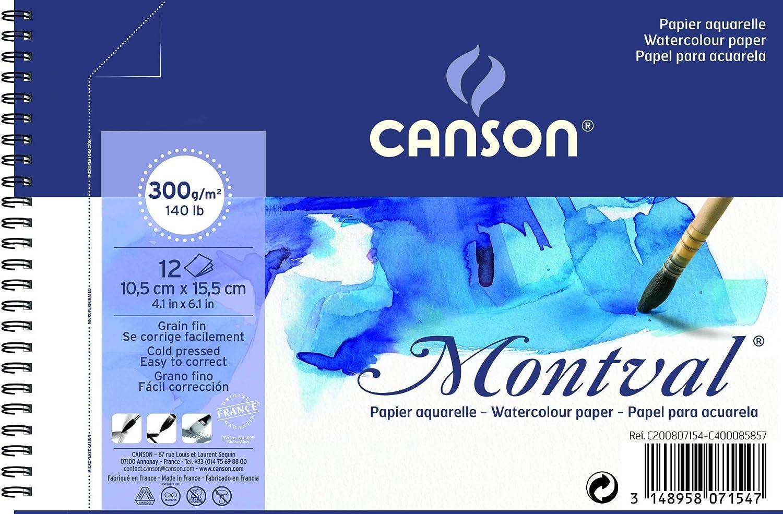 12/Feuilles par blocSpirale sur le c/ôt/é court blanc 10.5 x 15.5 cm wei/ß CANSON bloc spirale AQ Montval Aquarelle Fine 300/g//m/²