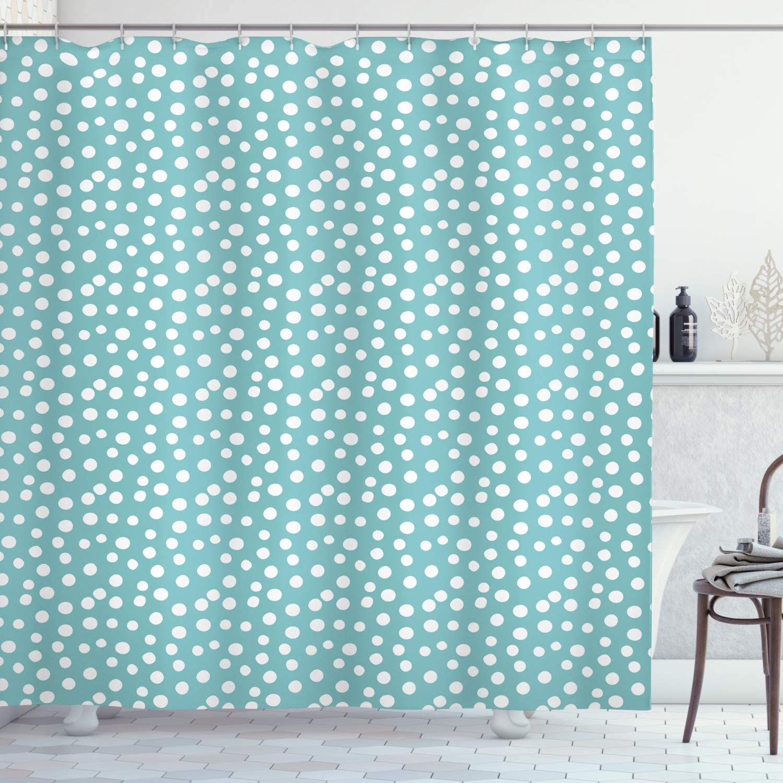 "Ambesonne Turquoise Shower Curtain, Retro Vintage 60s 50s Inspired Geometric Polka Dots Romantic Art Print, Cloth Fabric Bathroom Decor Set with Hooks, 70"" Long, White Blue"