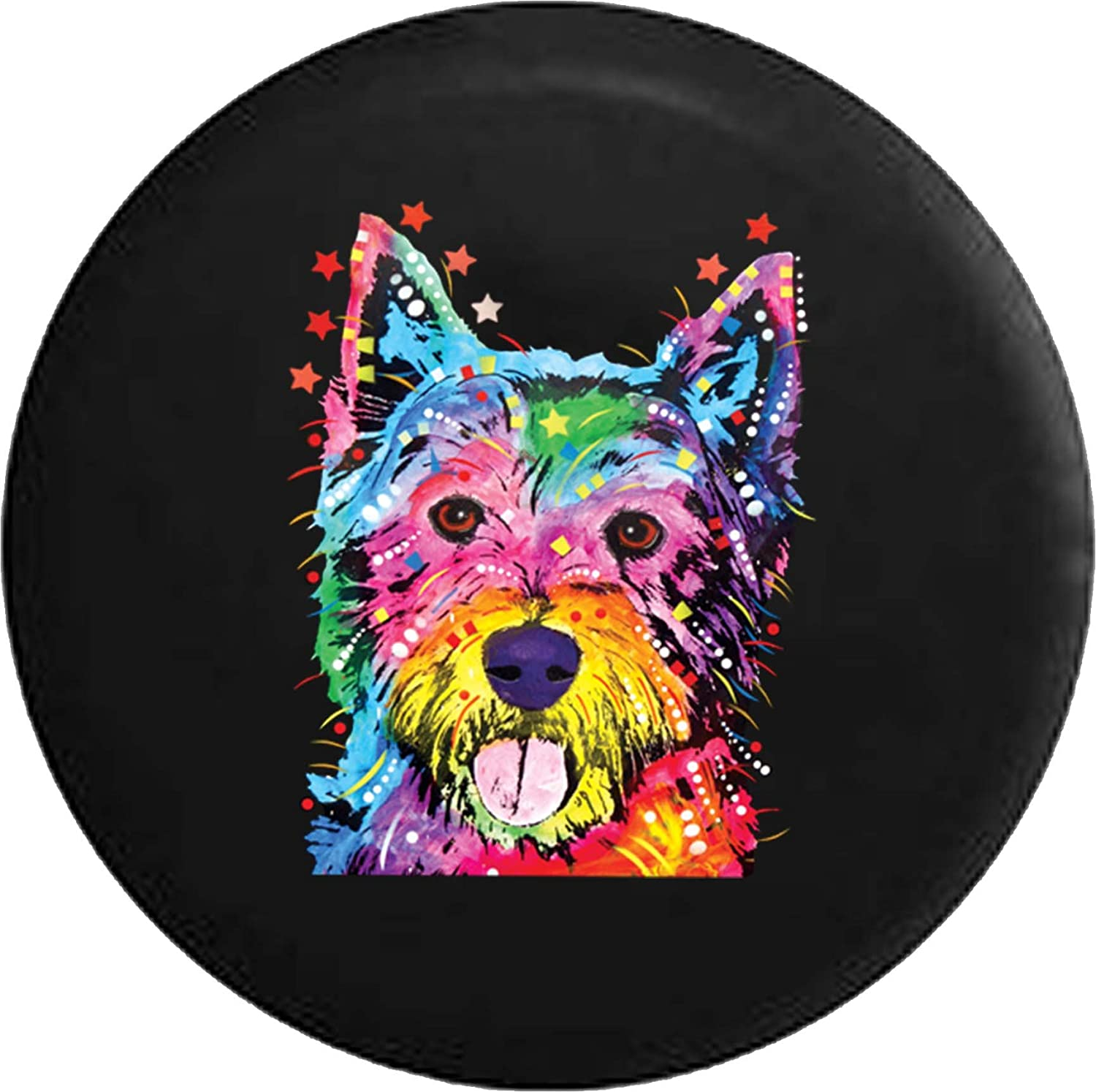 556 Gear Neon Artistic K9 American Lab Pit Bull Staffy Dog Mix Jeep RV Spare Tire Cover Black 33 in