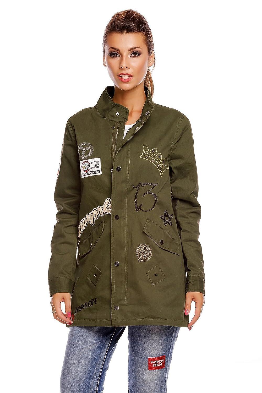 Damen-Parka mit Patches modische Jacke im Hippie-Stil der 70er mit  verschieden Stickern versehen Übergangsjacke Military-Look NK2366   Amazon.de  Bekleidung 2009818dae