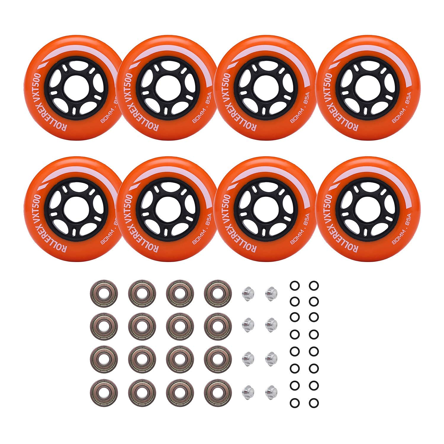 Rollerex Inline Skate Wheels VXT500 80mm (8-Pack or 2-Pack or 2 Wheels w/Bearings, Spacers and Washers) (80mm Sunrise Orange (8 Wheels w/Bearings, spacers and washers)) by Rollerex