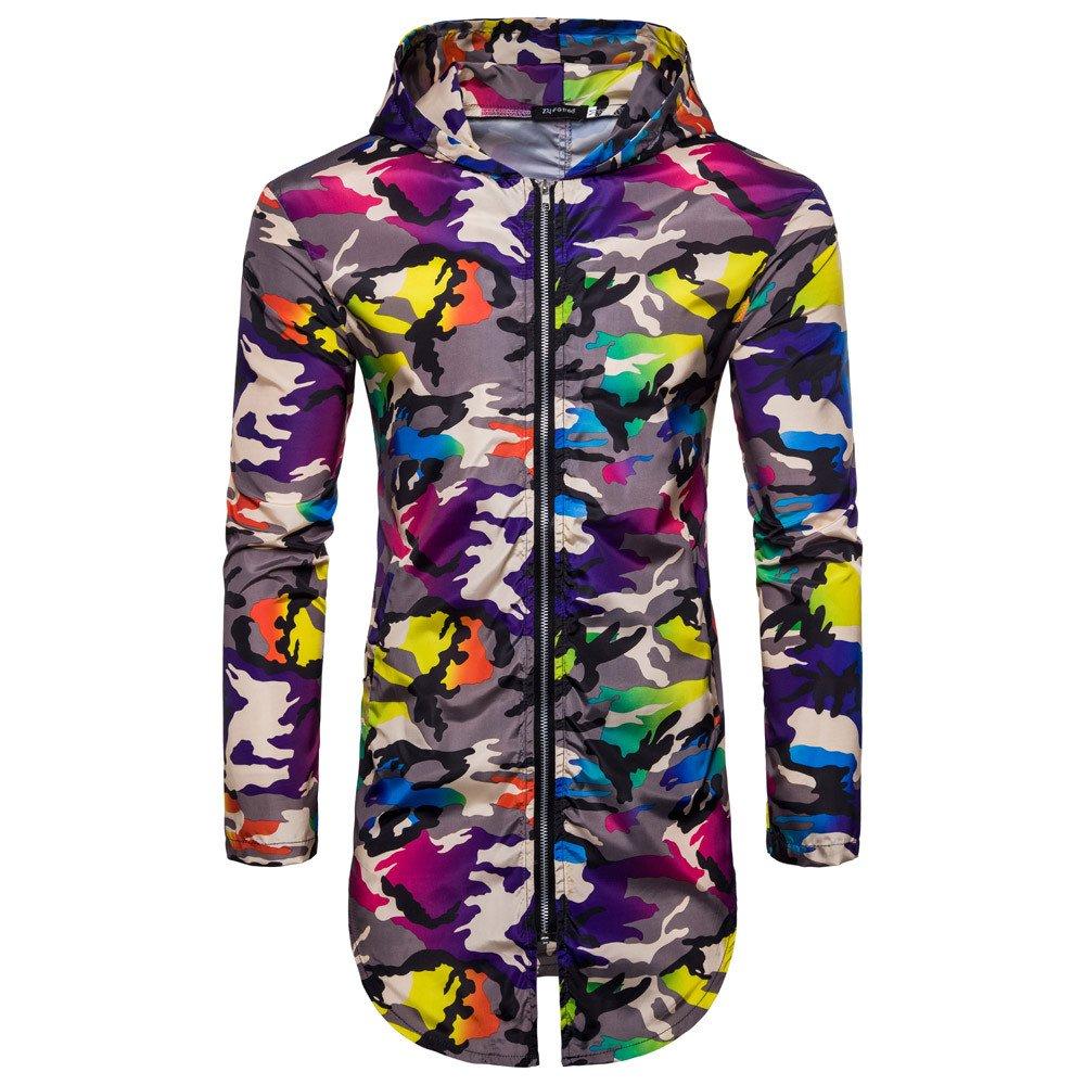 HGWXX7 Men's Summer Camouflage Print Suntan-Proof Thin Section Long T-Shirt Top Blouse Coat (M, Purple)