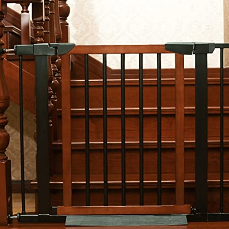Indoor Safety Gates Wood Extra Wide Baby Gate Pressure Fit Extension
