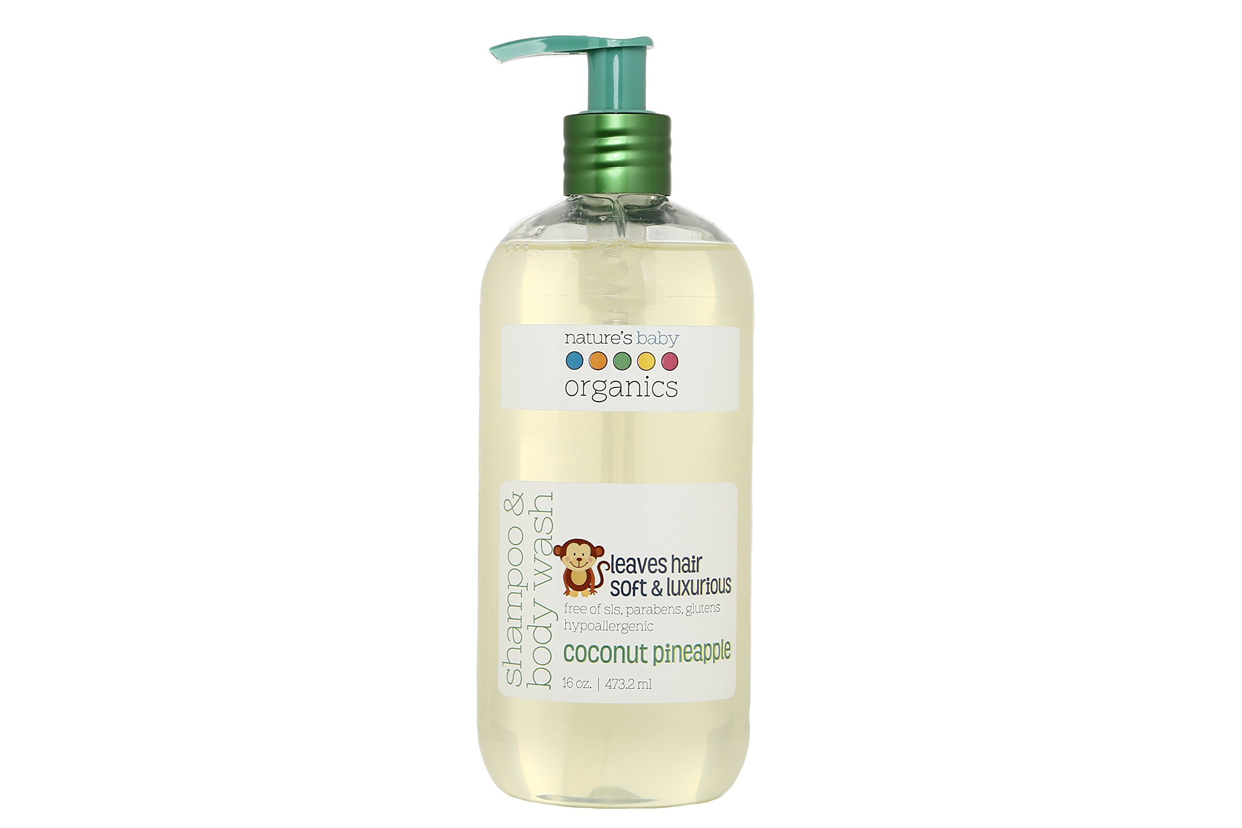 Nature's Baby Organics Shampoo & Body Wash, Coconut Pineapple, 16 oz. |Babies, Kids, Adults! Moisturizing, Soft, Gentle, Rich, Hypoallergenic | No Parabens, SLS, Glutens