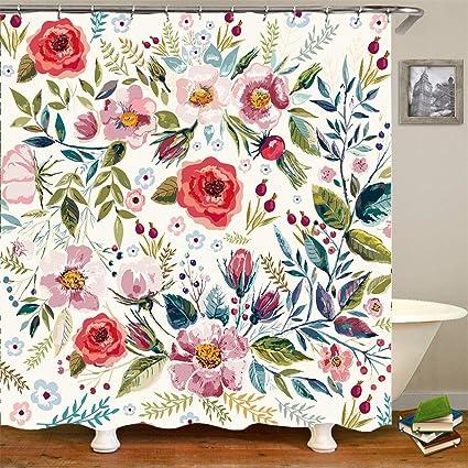 Shower Curtain w 12 Hooks White Black Floral Plastic 71X71 Mildew Resistant