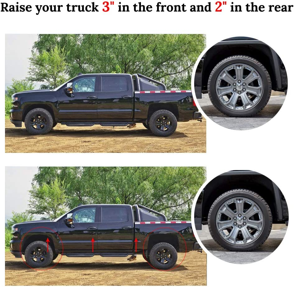 """Chevy Silverado 3/"""" Front and 2/"""" Rear lift kit for 2007-2018 GMC Sierra Leveling"""