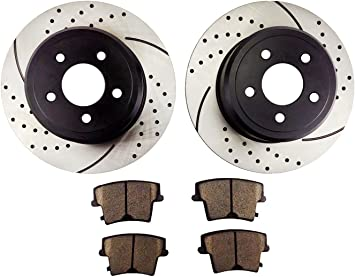 For 2005 Chrysler Dodge 300 Magnum Rear Slotted Brake Rotors+Ceramic Pads