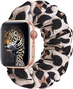 KraftyChix Cute Scrunchie Elastic Watch Band Compatible for Apple Watch, Soft and Fashion Elastic Strap Compatible with Iwatch 38mm 40mm / 42mm 44mm Series 1-4 (Leopard, 38mm/40mm)