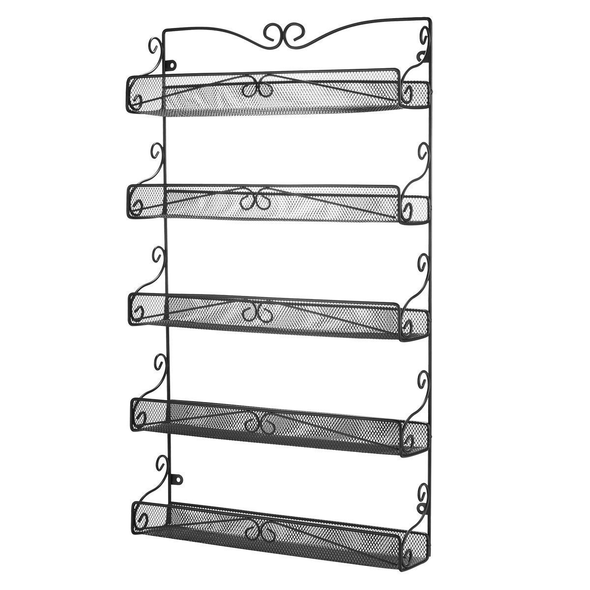 3S Wall Mounted Spice Rack Storage Hanging Spice Shelf Organizer,5 Tier Black. COMINHKPR135968