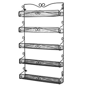 3S Wall Mounted Spice Rack Organizer for Pantry Cabinet Kitchen Hanging Spice Shelf,5 Tier Black