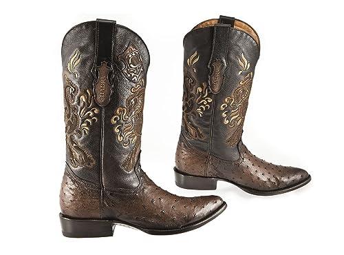 f2545d81b35 Amazon.com | Cuadra Round Cowboy Mens Boots Flame Chocolate - Exotic ...