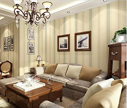Non Woven Modern Simple Vertical Striped Green Wallpaper Living Room Restaurant TV Wall Bedroom