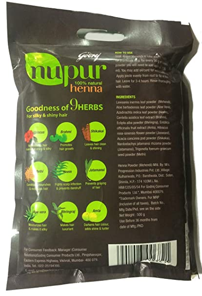 Amazon Com Godrej Nupur Henna Powder 120 Grams X 3 Packs 360g
