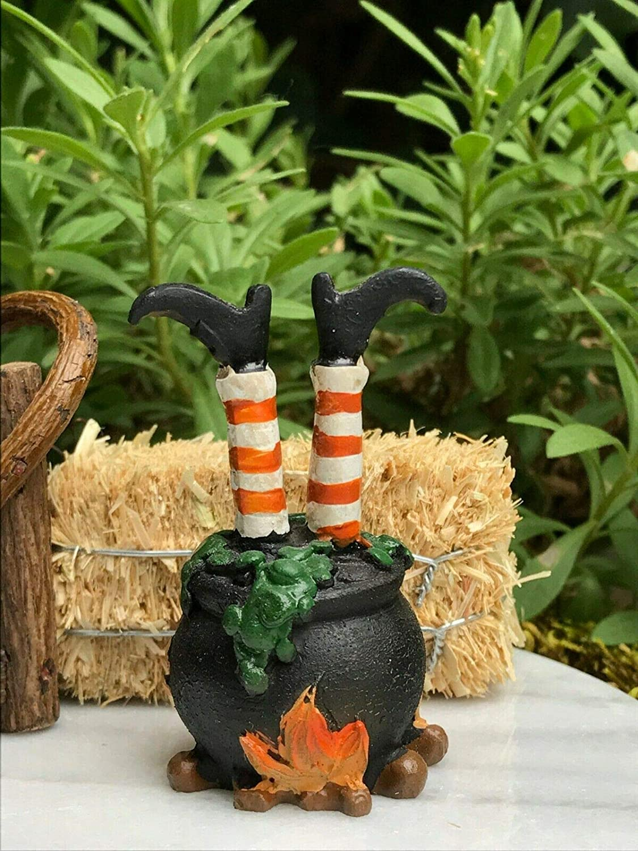 Miniature Dollhouse FAIRY GARDEN Light-Up Witches Cauldron