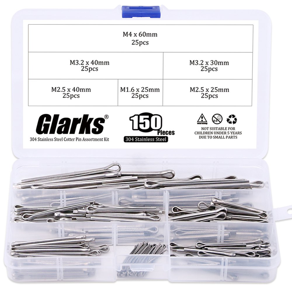 Glarks 150Pcs 304 Stainless Steel Cotter Pin Clip Key Fastner Fitting Assortment Kit