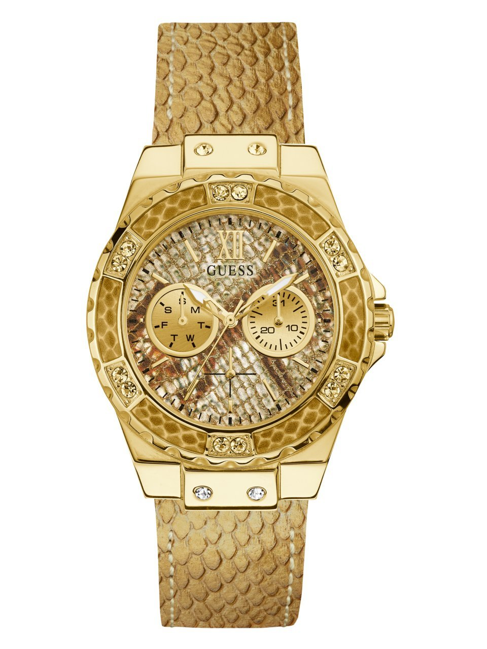 Guess Women's Stainless Steel Textured Leather Strap Crystal Accented Watch, Color Animal Print/Gold-Tone (Model: U0775L13)