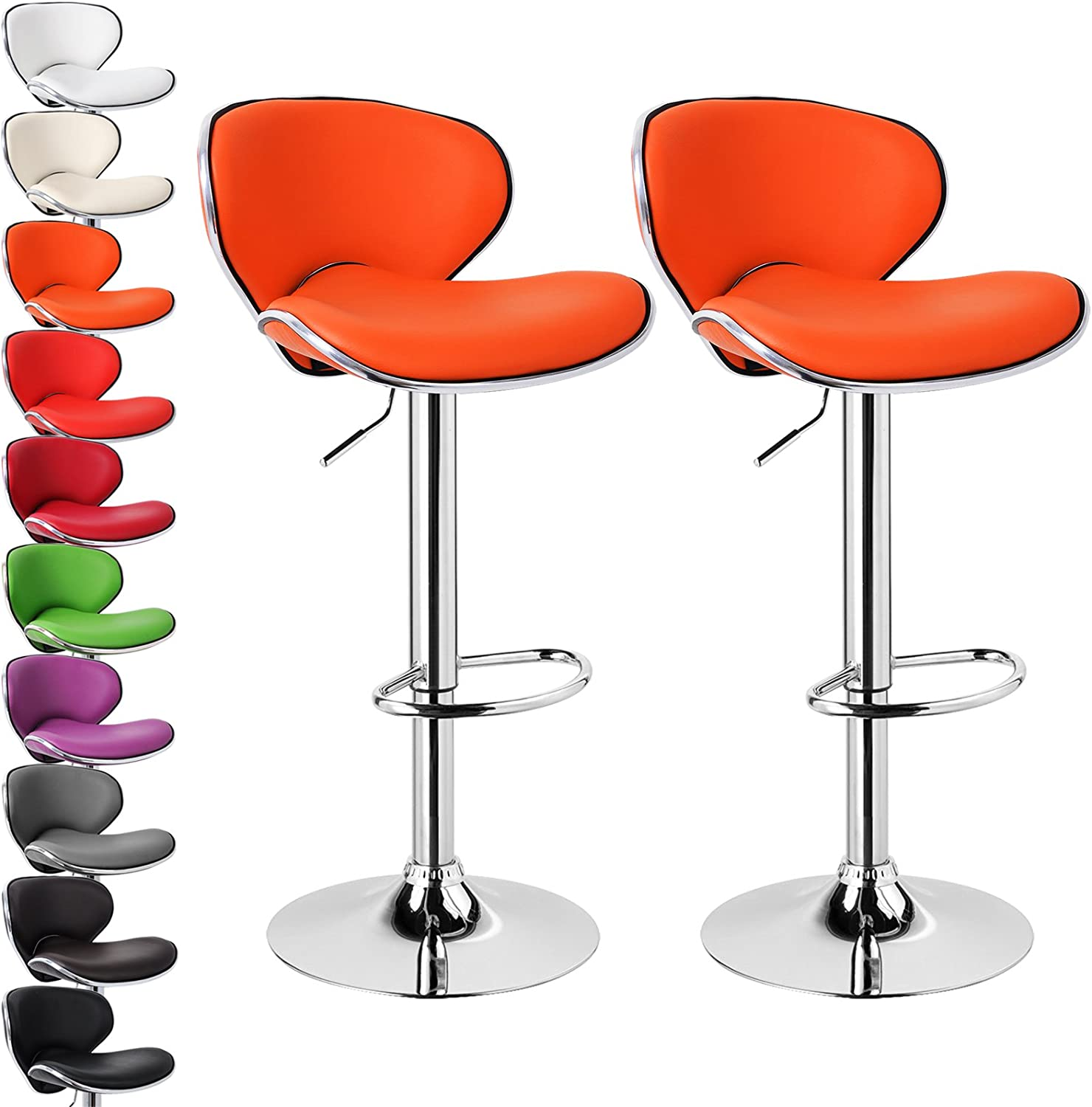 WOLTU Bar Stools Brown Bar Chairs Breakfast Dining Stools for Kitchen Island Counter Bar Stools Set of 2 pcs Leatherette Exterior//Adjustable Swivel Gas Lift//Steel Footrest /& Base