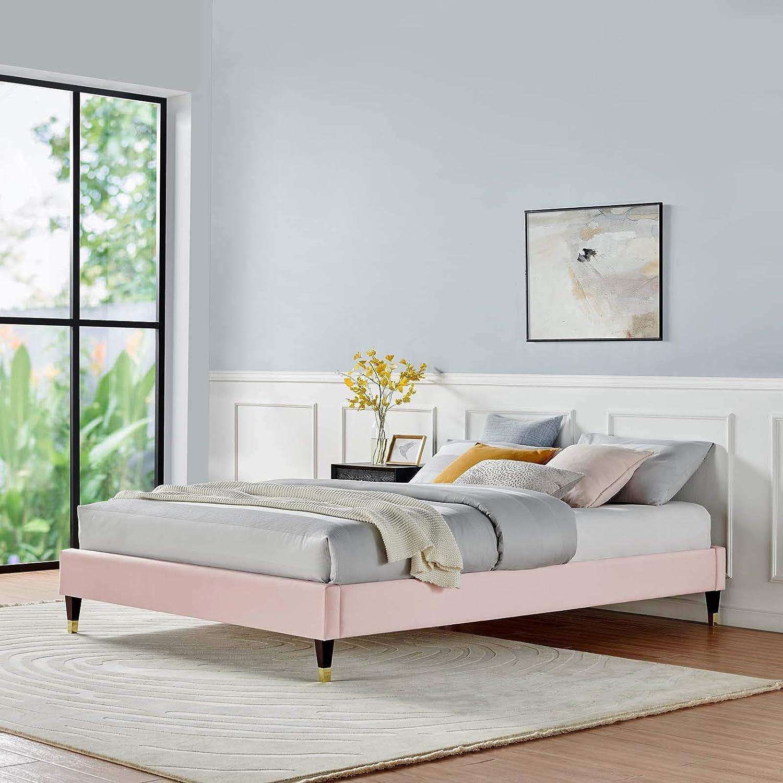 Modway Mod 6270 Pnk Harlow Queen Performance Velvet Platform Bed Frame Pink Furniture Decor