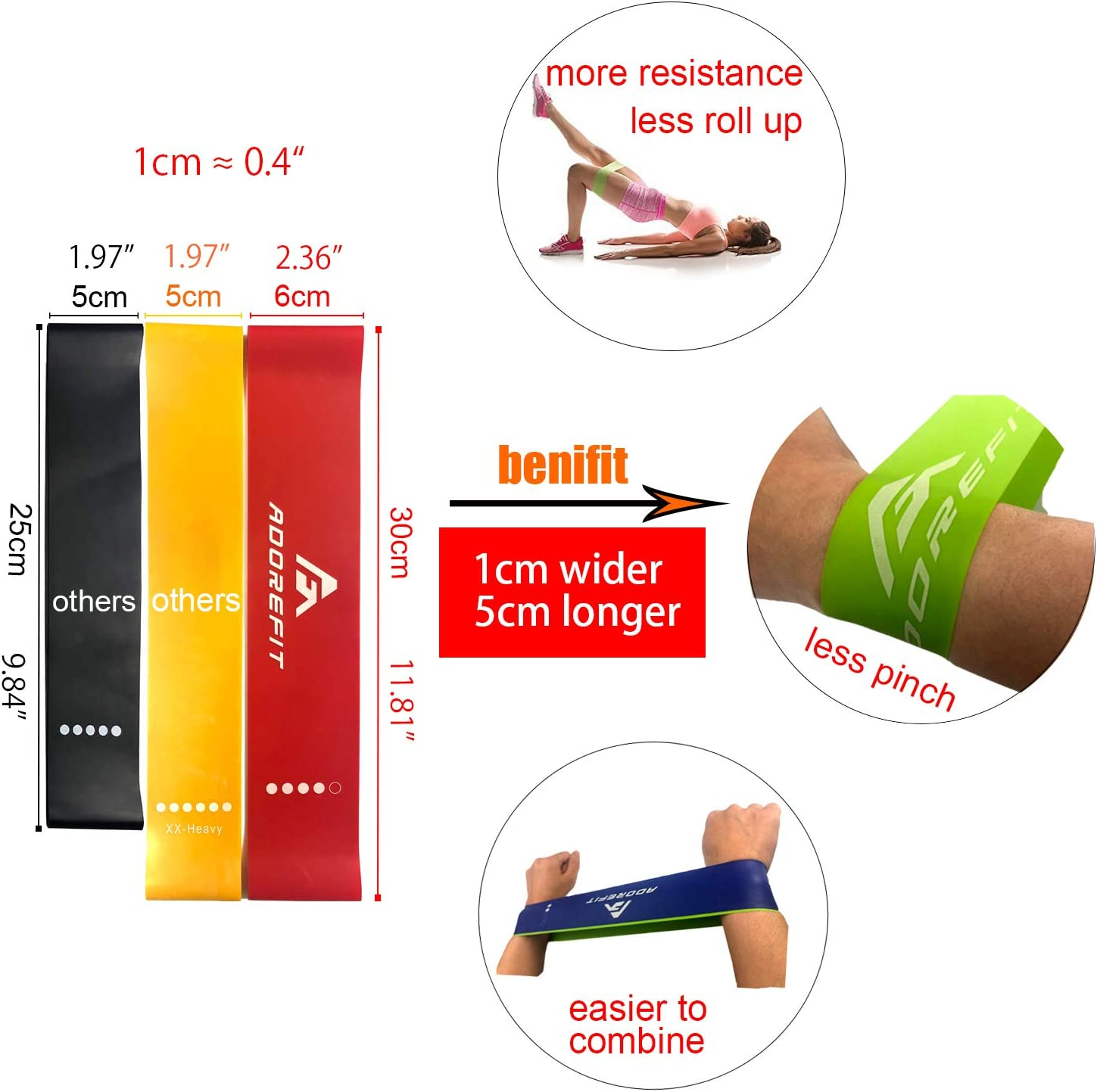 AdoreFit Resistance Band Exercise Loops Upgraded Nature Latex Elastic Bands for Workout,Fitness,Home Gym,Crossfit,Pilates,Stretch,Yoga,Rehabilitation with Printed Manual,Video Guide /& Bag Rehabilitation with Printed Instruction