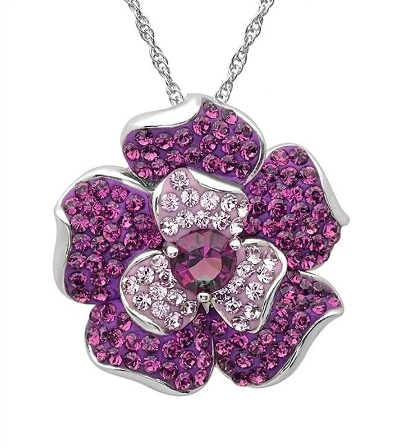 Amazon sterling silver flower pendant necklace made with amazon sterling silver flower pendant necklace made with purple swarovski crystals jewelry mozeypictures Gallery