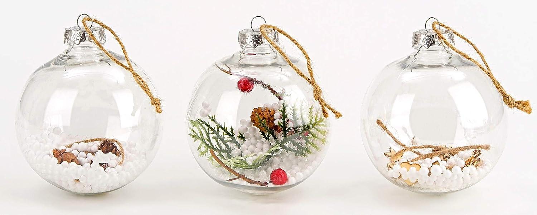 Brubaker /Ø 10 cm D/écoration de No/ël Traditionnelle Boules remplies /& Transparentes en Acrylique Suspensions pour Sapin de No/ël 9 Pi/èces