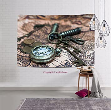 Amazon sophiehome 312264620 classic grunge pocket watch clock sophiehome 312264620 classic grunge pocket watch clock skeleton keys on ancient world map tapestry wall gumiabroncs Gallery