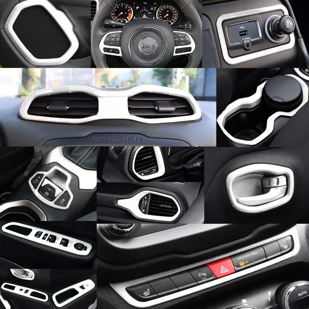 Yoursme Black Car Interior Accessories Decoration Cover Trim Kit 31PCS Air Conditioning Vent /& Door Speaker /& Water Cup Holder /& Passenger Side Grab Handle Covers for Jeep Renegade 2015-2018