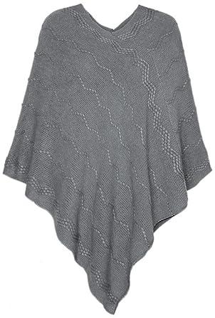 b7d4dd78a0cb54 dy_mode Eleganter Damen Poncho Damen Pullover Strickponcho im dezenten  Strick-Muster - OneSize - PJ020