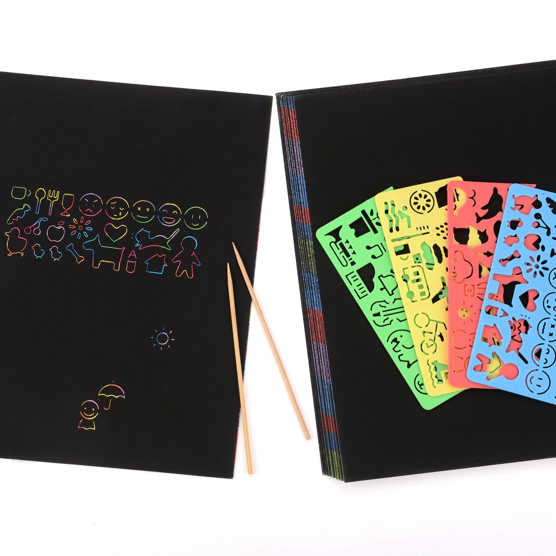 10 Blätter Kratzbilder Scratch Boards Schwarz Beschichtet Kunst Malerei
