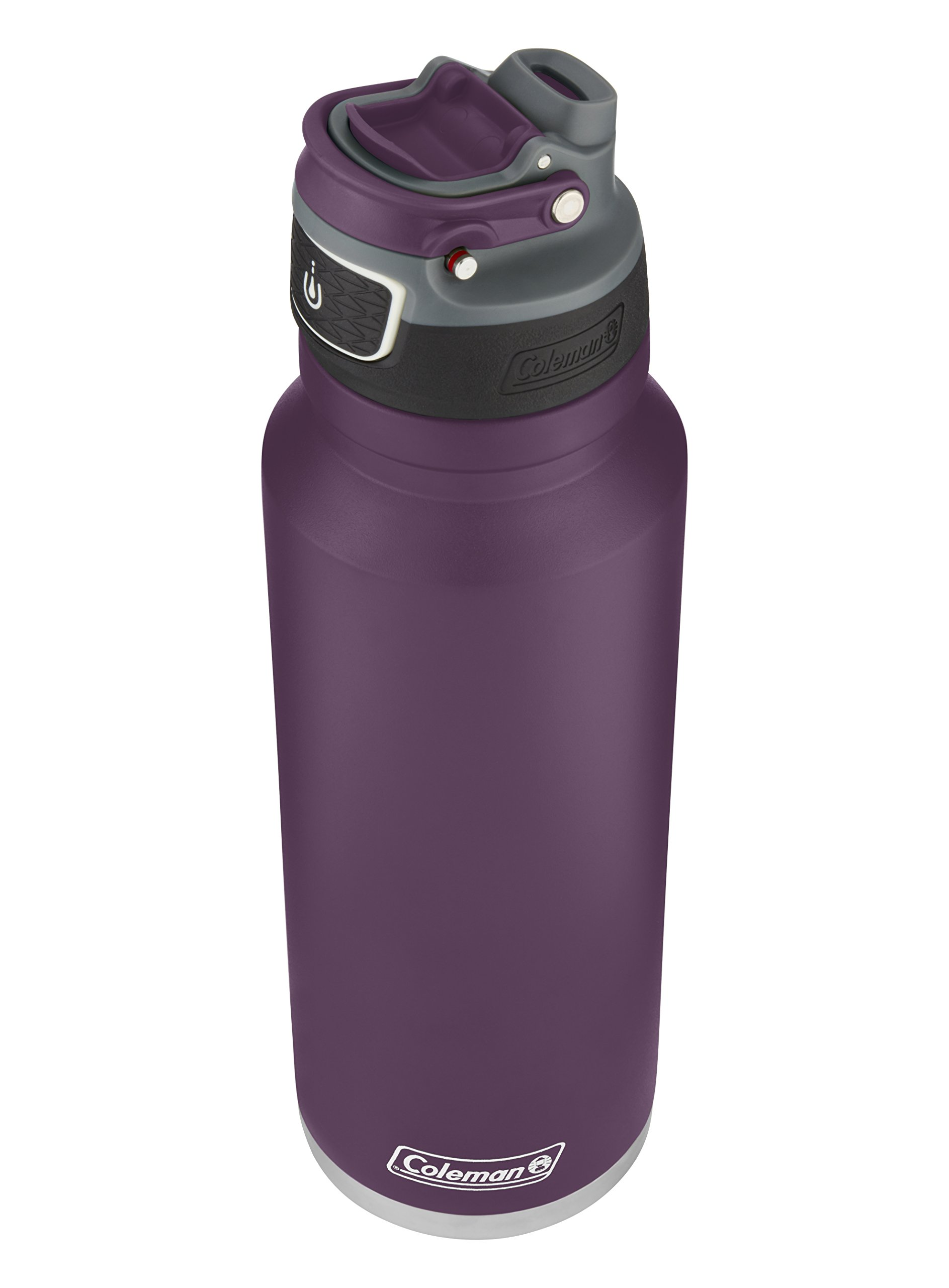 Coleman FreeFlow AUTOSEAL Insulated Stainless Steel Water Bottle, Violet, 40 oz.