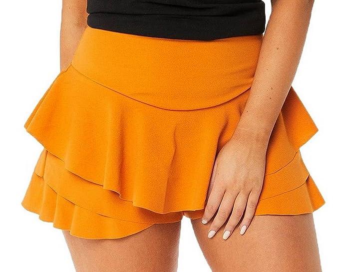 Xiang Ru Falda de Talle Alto con Volantes en Capas, Mini Falda de ...