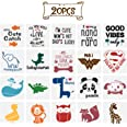 20 Pack Onesie Stencil Kit, Mixed Animals Pattern Painting Stencils Baby Shower Onesie Decorating Reusable Templates for Pain