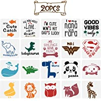 20 Pack Onesie Stencil Kit, Mixed Animals Pattern Painting Stencils Baby Shower Onesie Decorating Reusable Templates for…