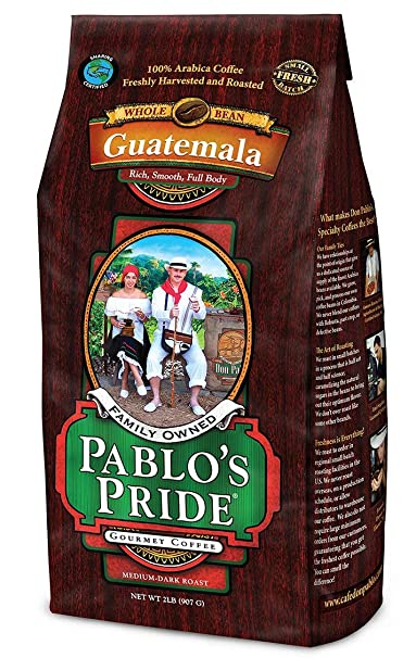 2LB Pablos Pride Gourmet Coffee - Guatemala - Medium-Dark Roast Whole Bean Coffee - 2 Pound (2 lb)  Bag