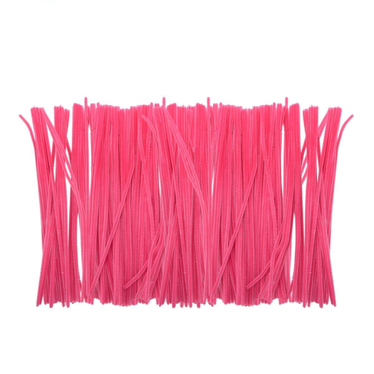Saim Rose Pink Colored Pipe Cleaners Chenille Stems 12'' for Creative Handmade Arts and Crafts