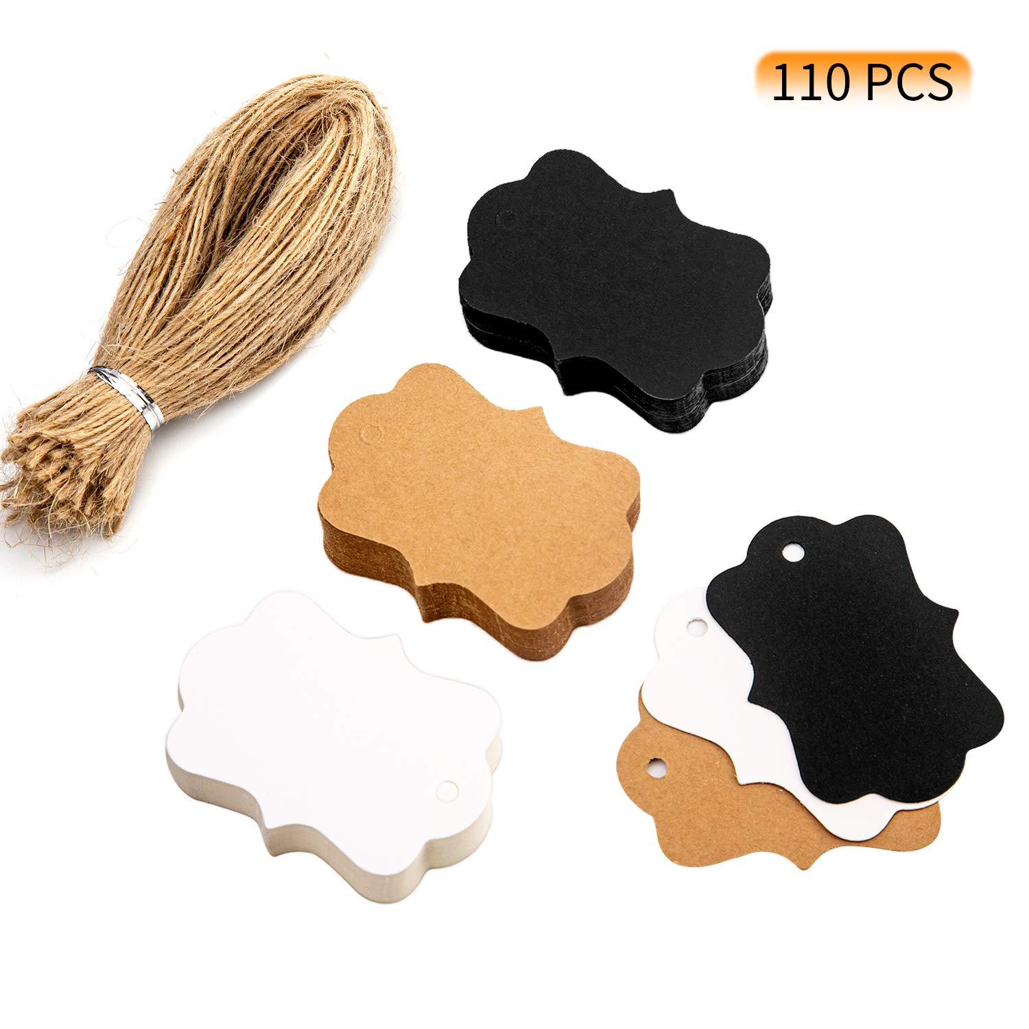 AIEX 110 PCS Kraft Paper Tags Blank Gift Tags with 120 PCS Natural Jute Twine for DIY Craft and Wedding Party Favors