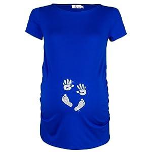 Happy Mama. Femme Chemise T-shirt grossesse imprimé empreinte pied mains. 013p