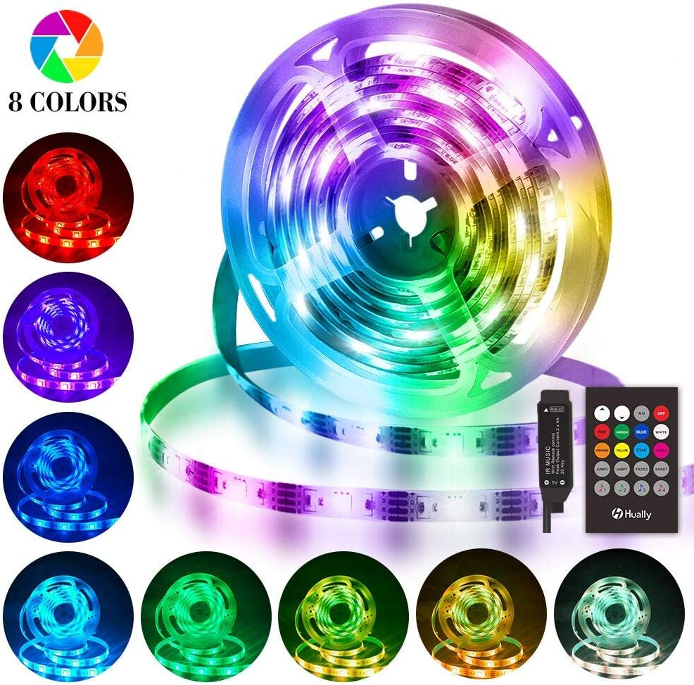 Tiras LED 3M, Hually Impermeable Tira LED USB con Control Remoto, Sincronizar con música,5050 RGB LED Strip con 4 Modos y 8 Colores, Luces LED para Habitacion, Hogar, Bar, Fiesta, Restaurante y Coche