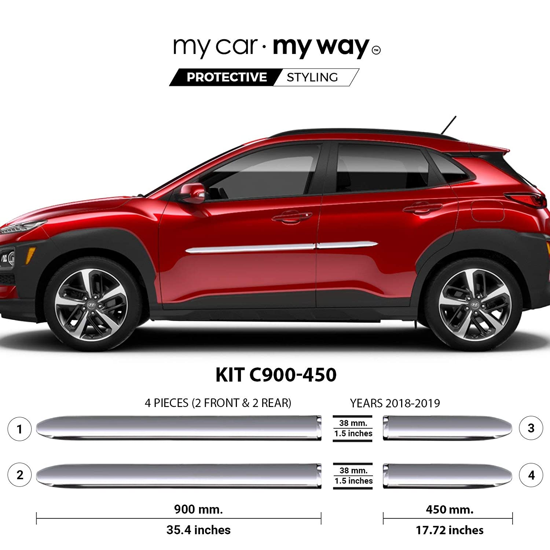 Fits Hyundai Kona 2018-2019 Real Carbon Fiber Body Side Molding Cover Trim Door Protector