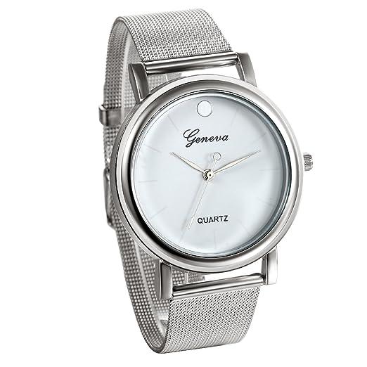 JewelryWe Reloj Plateado Blanco Para Hombre Caballero, Grande Reloj Cuarzo Sin Números Correa de Acero Inoxidable Milanesa, Original Regalo de Navidad: ...