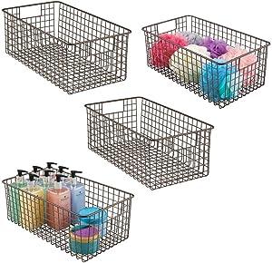 mDesign Farmhouse Decor Metal Wire Bathroom Organizer Storage Bin Basket - for Cabinets, Shelves, Countertops, Bedroom, Kitchen, Laundry Room, Closet, Garage - 4 Pack - Bronze